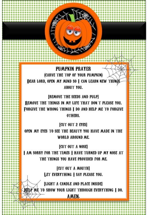 Sizzling image regarding pumpkin prayer printable